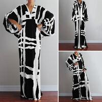 VONDA Women Plus Size V Neck Batwing Sleeve Party Casual Print Long Maxi Dress