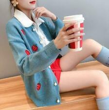 Womens Ladies Korean Fashion Sweet Strawberry Cardigan Sweaters Coat Outwear