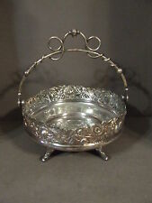 ANTIQUE DERBY SILVER CO. QUADRUPLE PLATE FOOTED BRIDE BASKET