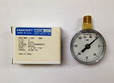"Lot of 2 ~ New Ashcroft 20W1005 H 02T  Pressure Gauges, 30 PSI 1/4"" NPT Top Conn"