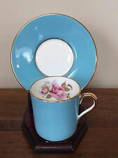 Aynsley BLUE DEMITASSE Flat Cup & Saucer Set  #2225