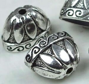 4 Large Antique Silver Pewter Caps Focal Beads Bohemian Tassel Component