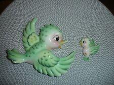 Lefton Bluebird with baby bird Rare Green