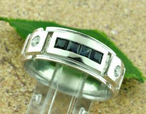 Men's Glamorous Channel Set Engagement Ring 14K White Gold 2.03Ct Round Sapphire