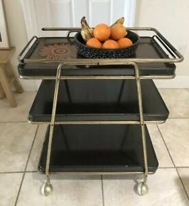 VTG MCM 3 TIER Gold Tone Hot-Top COSCO Kitchen Utility Serving Coffee CART