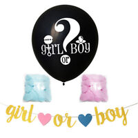 Baby Shower Gender Reveal Banner Gold Glitter First Birthday Party decor RO