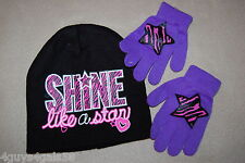 Girls BLACK STOCKING HAT Shine Like Star PURPLE GLOVES Pink Zebra Star