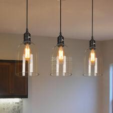 LED Vintage Clear Glass Chandelier Industrial Ceiling Lamp Island Pendant Light