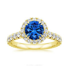 14K Yellow Gold Ring Natural 2.60 Ct Diamond Natural Blue Sapphire Ring Size N