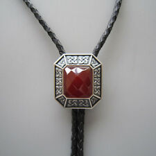 NEW ANTIQUE SILVER PLATED VINTAGE RED AGATE OCTAGO STONE WESTERN COWBOY BOLO TIE