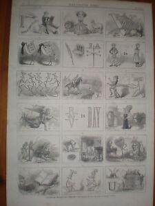 Illustrated proverbs & charades 1865 quiz print