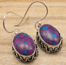 JEWELRY STORE ONLINE, PURPLE COPPER TURQUOISE EARRINGS, Silver Plated