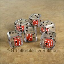 NEW Set of 6 CLEAR Double Six Sided 19mm Dice Game RPG Math Large 3/4 inch D6
