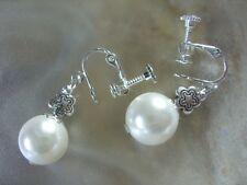 Edelstein Clip Ohrringe Earrings 12 mm Perle weiße Muschelkernperle m.Ohrclip