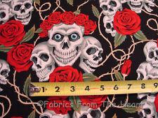 Red Rose Tattoo Skulls Bones on Black Blue Eyes 1.78 YD Alexander Henry Cotton