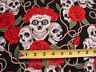 Red Rose Tattoo Skulls BLue Eyes Thorns on Black BY YARD Alexander Henry Cotton