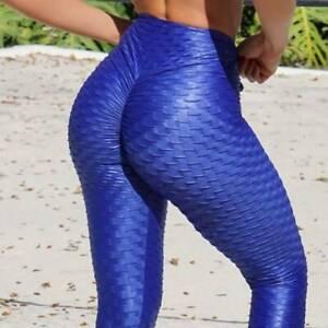 Blue Women Push Up Leggings Yoga Pants Anti Cellulite Sports Scrunch Trousers