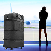 """30"""" Rolling Wheeled Duffel Bag Spinner Suitcase Luggage Expandable in Black"""