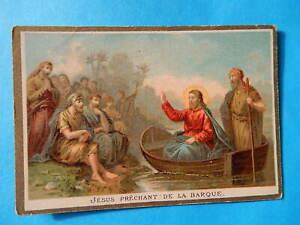 IMAGE PIEUSE HOLY CARD  JESUS PRECHE DANS LA BARQUE   BONNE PRESSE