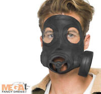 Black Gas Mask Fancy Dress Adult WW2 1940s Mens Ladies Army Costume Accessory