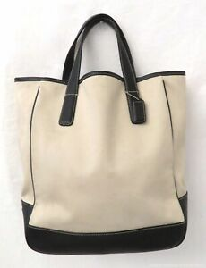 Coach 7725 Beige Canvas & Black Leather Tote Bag Purse