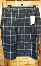 NWT Rafaella Woman's 14 Black Plaid Pleated Linen/Cotton Skirt