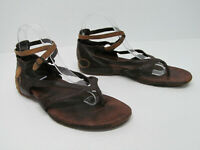 Merrell Women's Lotta Mahogany Brown Leather Strappy Flat Sandals Size 9
