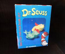 ~ Dr. Seuss ~ Mib ~ OneFish TwoFish ceramic BankSet ~ Vandor 2002