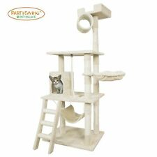 Cat Tree Kitten Tower Condo with Hammock, Deluxe Scratching Posts & Rope, Ivory