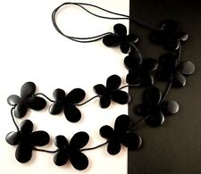 1 Hand Carved & Painted Black Wood Butterflys Dangle Necklace - # B74