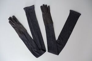 Acne Grey 100% Leather Gloves Long Wool