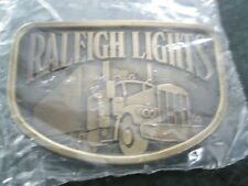 RALEIGH LIGHTS  Brass Belt Buckle Cigarette promotion with Mack Truck NIB