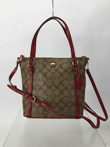 Coach Brown Logo Faux Leather Red Trim Handbag
