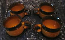 4x lovely pottery tea cups in a two tone brown great earth colours unknown mark