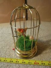 "Vintage made in Japan wind up bird cage music box. animated bird ""This Old Man"""