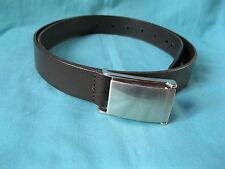 "Topman black bonded leather belt & stud buckle L, 36-42"", 91-106cm, 3cm wide"