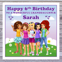 personalised with any RELATIONSHIP /& NAME KIDS LEGO FRIENDS CHRISTMAS CARDS