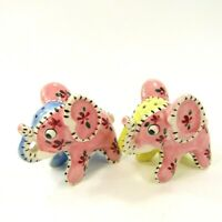 Vintage Salt Pepper Shaker Set Elephants S746 Patchwork Stitched Pink Blue  *337