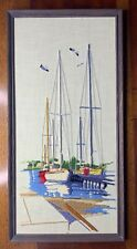 New ListingMcm Vintage Crewel Needlepoint Sailboats Sea Sailing Completed Framed Boat Retro