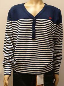 Mens Button Neck Stripe Pullover Jumper Sweater V-neck Stripe Pattern Size M-XL