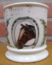 Antique Occupational Shaving Mug Horse HorseShoe Flowers Leonard Vienna Austria