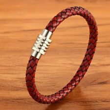 Bracelet homme femme en acier inoxydable et cuir rouge 19/21/23 cm