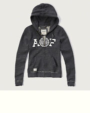 Abercrombie & Fitch Track Jacket Premium Applique Logo Hoodie Jumper S Grey NWT