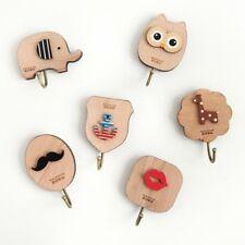 Wooden Adhesive Sticky Stick On Hooks Kitchen Bathroom Wall Hanger Cartoon
