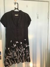 Laura Ashley black dress with white ferns and birds in size 12