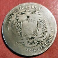 Venezuela 5 Bolivares  1876 A ( Paris ) Plata Fuerte de Simon Bolivar @ Bella @