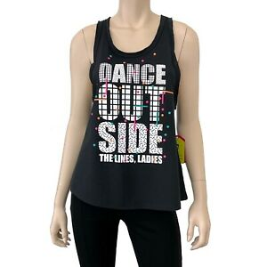 Zumba Dance Outside Loose Tank Top Size S Women's Black Multi Color NWT
