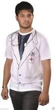 Boys Mens Doctor Scientist Lab Surgeon Hospital Lilac Coat Fancy Dress Costume Printed T-shirt X Large