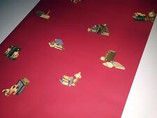 YORK WALLCOVERINGS FINE WALLPAPER LIBRARY STUDY CHINESE RED DOGS BOOKS 6 ROLLS