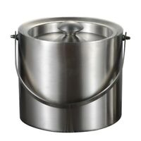 3L 2 Tier Stainless Steel Insulation Ice Bucket with Lid Handle for Wine Ch T4J5